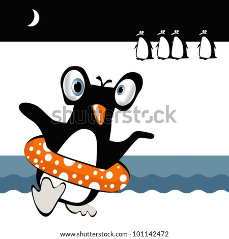 funny penguins - stock vector