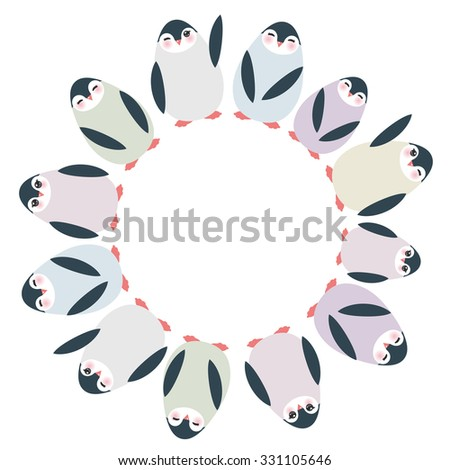 Funny penguins for winter design round frame for your text card template isolated on white background. Vector - stock vector