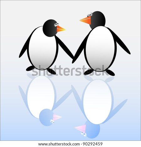 Funny penguins.Vector illustration. - stock vector