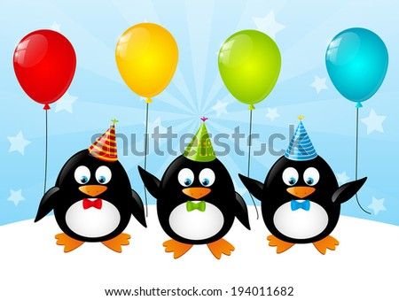 Funny penguins with color balloons - stock vector