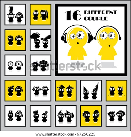 Funny people icons - stock vector