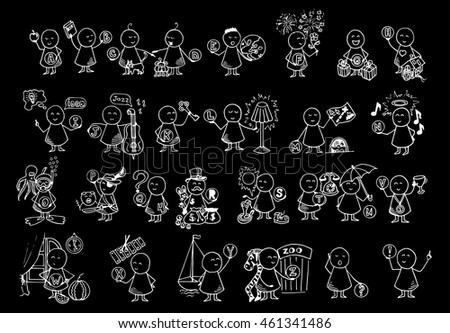 Funny people icons. Alphabet set. Doodle vector blackboard. Education background.