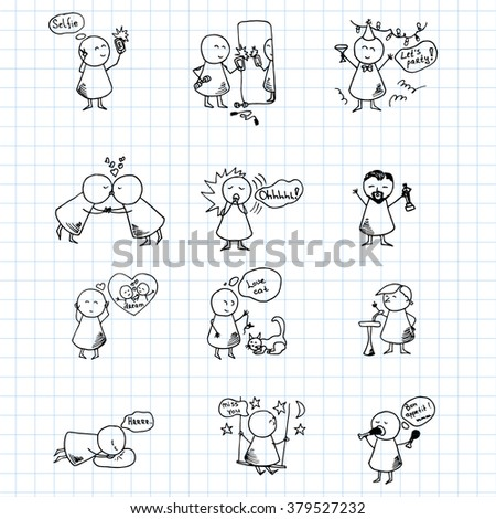 Funny people icons on blue graph paper. Vector Illustration. - stock vector
