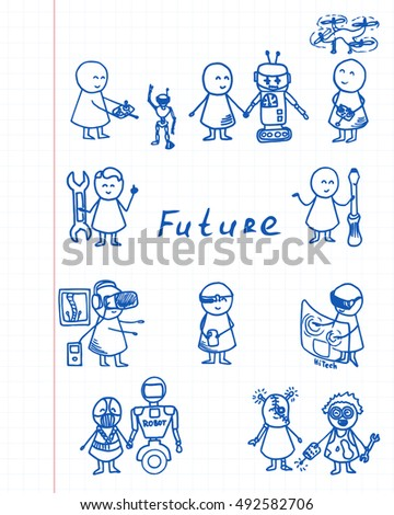 Funny people icons on notebook sheet. Doodle technology big set. Vector hi-tech Illustration.