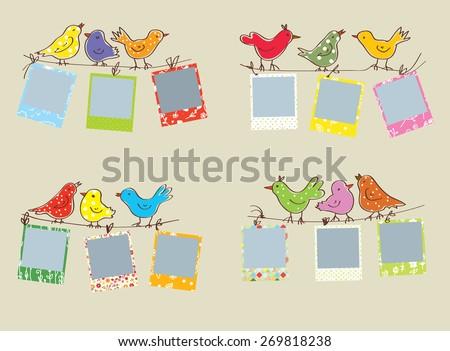 Funny Photo Frames Birds Patterns Set Stock Vector 269818238 ...