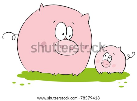 Funny pig : mother and child - stock vector