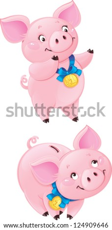 Funny piggy may be used as your corporate character. Created in Adobe Illustrator. Image contains gradient, does not contain any gradient meshes or transparencies. EPS 10. - stock vector