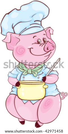Funny piglet-chief - stock vector