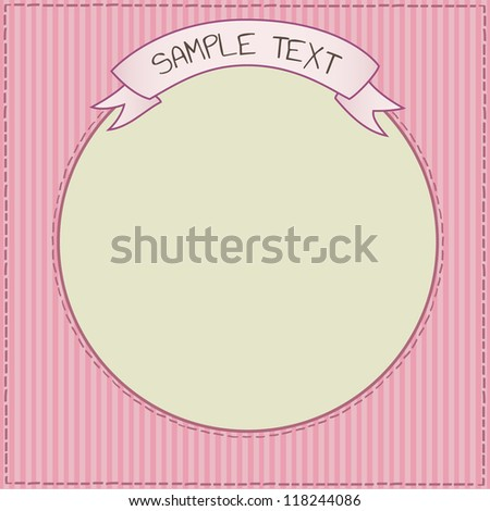 Funny pink card or frame template