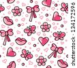 funny pink seamless pattern with hand drawn elements - stock vector