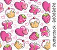 funny pink seamless pattern with hand drawn elements - stock photo