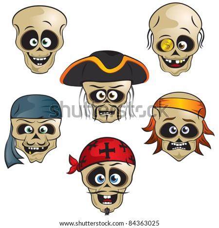 Funny pirate skull - stock vector