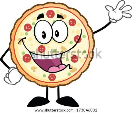 Funny Pizza Cartoon Mascot Character Waving. Vector Illustration Isolated on white - stock vector