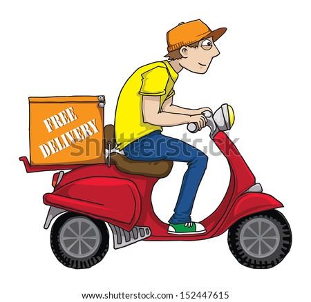 Funny Pizza Delivery Boy Riding Red Stock Vector 152447615 ...