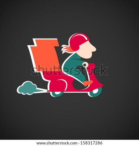 Funny pizza delivery man on red motorbike. Cartoon character in retro style. It can be used for decorating of invitations, cards, menu, decoration for bags and clothes. - stock vector