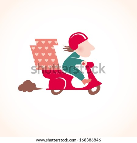 Funny pizza delivery man on red motorbike. Cartoon character in retro style. It can be used for decorating of invitations, cards, menu, booklets, leaflets, decoration for bags and clothes. - stock vector