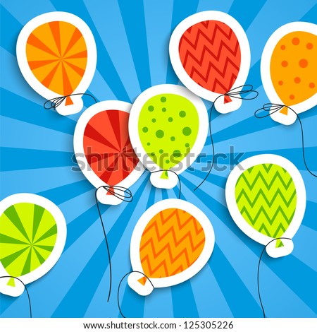 Funny postcard with balloons. Vector illustration for your holiday presentation. Easy to use and color change. Postcard picture in bright red, green, orange and blue color.