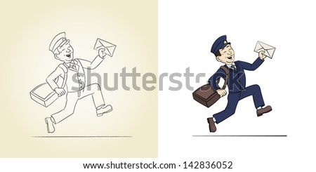 Funny Postman with Letter. Sketch and color vector illustrations. - stock vector