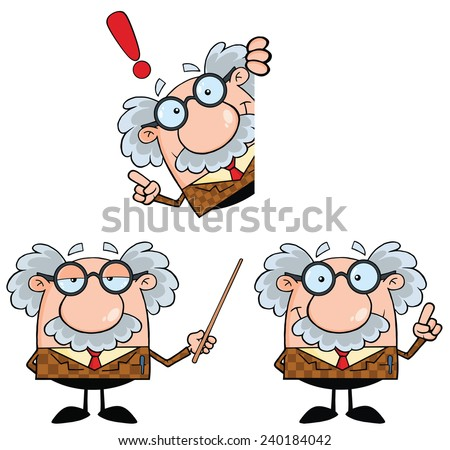 Funny Professor Cartoon Character. Vector Collection Set - stock vector