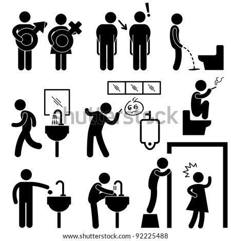 Funny Public Toilet Concept Icon Symbol Sign Pictogram - stock vector