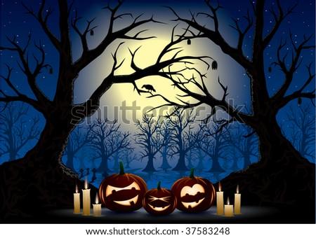 funny pumpkins on a dark halloween night - stock vector