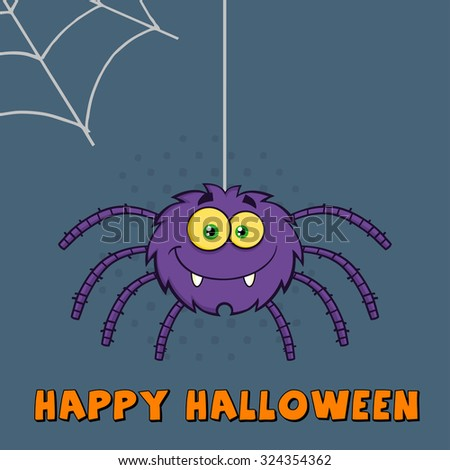 Funny Purple Halloween Spider Cartoon Character On A Web With Text. Vector Illustration Greeting Card - stock vector