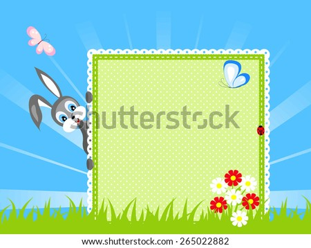 funny rabbit look out textile green board, red and white flowers on green grass, butterfly and ladybird on blue sky background, vector illustration