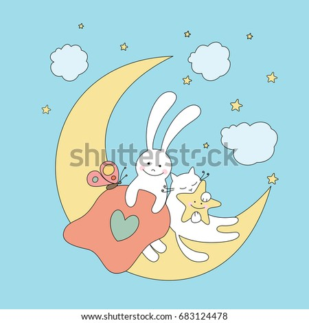 Funny Rabbit Sleeping Cat And Star On The Moon Illustration For Children Design
