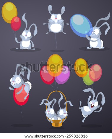 Funny rabbits with balloons - stock vector