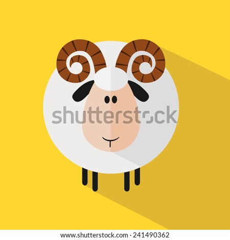 Funny Ram Sheep.Modern Flat Design Vector Illustration variant 2 - stock vector