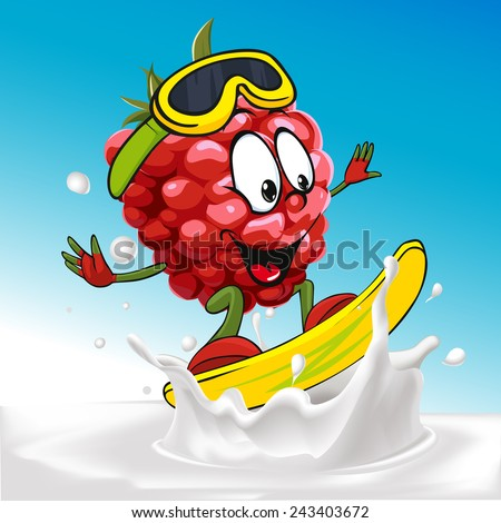 funny raspberry cartoon surfing on milk splashing wave - vector illustration - stock vector