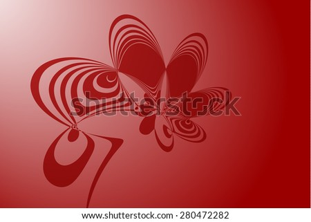 Funny red abstract flower illustration - stock vector