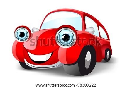 Funny red car. Vector illustration - stock vector