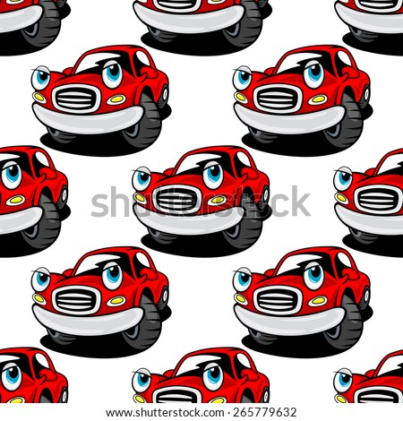 Funny red cars cartoon characters seamless pattern with repeated motif of cute retro automobiles on white background for childish decor or wallpaper design - stock vector