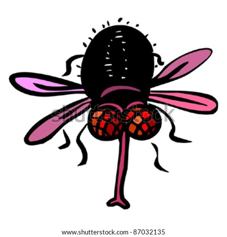 Funny red eyed fly - stock vector