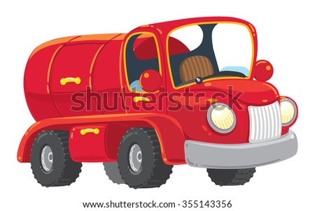 Funny red old-styled toy tanker truck . Children vecror illustration.