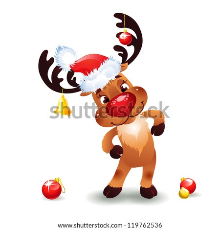 Funny reindeer christmas  Cute Santa Reindeer with Bow Bell and hat of Santa Claus - stock vector