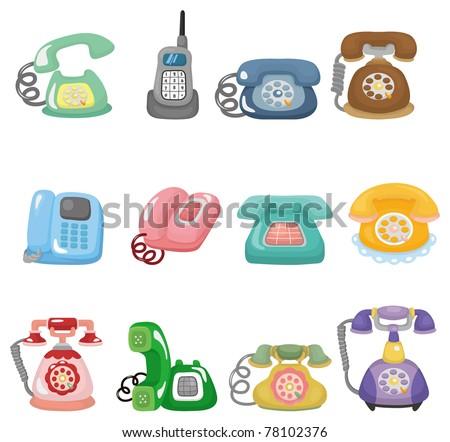 funny retro cartoon phone icon set - stock vector