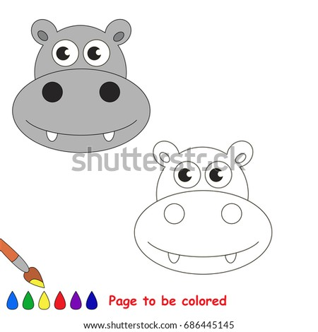 Funny Rhino Face To Be Colored The Coloring Book For Preschool Kids With Easy Educational