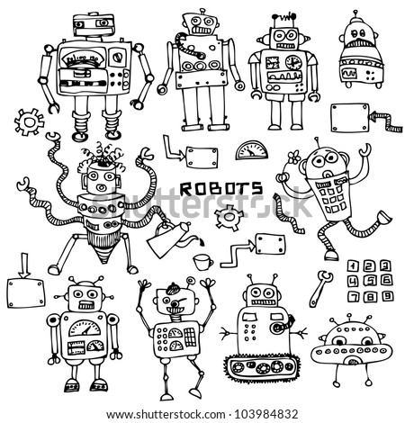 Funny robot set in cartoon style - stock vector