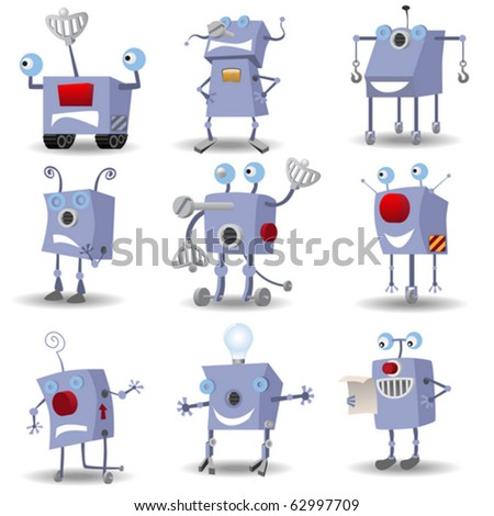Funny robots set - stock vector