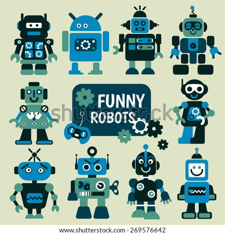 Funny robots set. 10 cheerful robots for design.  - stock vector