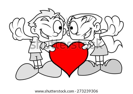 Funny Romantic Couple with Heart - stock vector