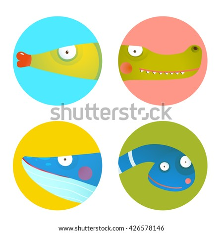 Funny round colorful signs for kids with animals. Set of round circle icons with fish for children. Wildlife signs set. Vector EPS10. - stock vector