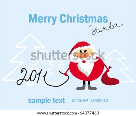Funny Santa. Christmas background