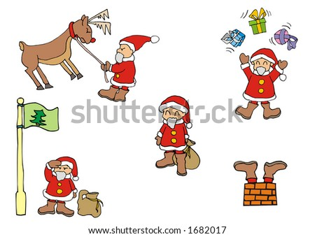 Funny Santa Claus set 2 (vector image scalable to any size)