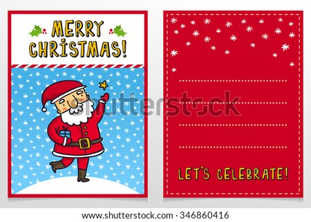 Funny Santa Claus vector Christmas greeting card design template with cute Father Frost cartoon character catching star on snowy background and holiday wishes - stock vector