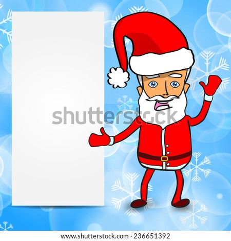 Funny Santa Claus with empty paper sheet on a winter background