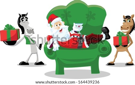 Funny Santa Claus with horses , christmas background