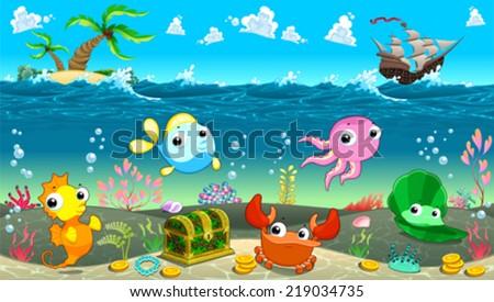 Funny scene under sea vector cartoon stock vector 219034735 funny scene under the sea vector cartoon illustration voltagebd Gallery